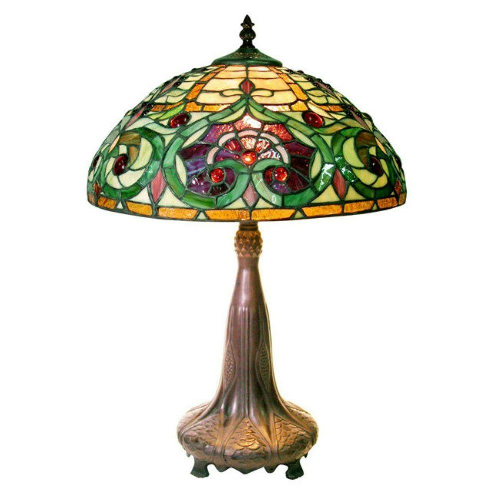 Warehouse of Tiffany 24 in. Jeweled Multicolored Brown Table Lamp