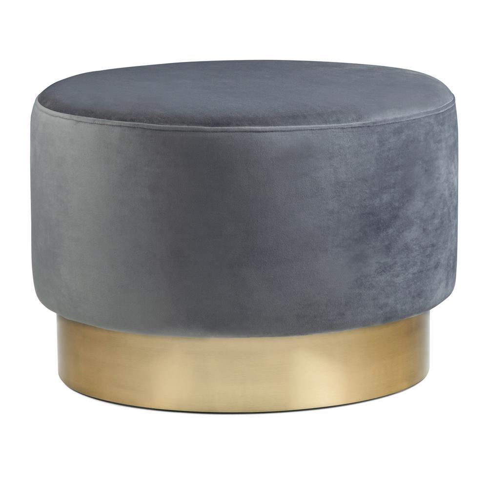 Simpli Home Bardoe Grey Velvet Large Round Ottoman Footstool