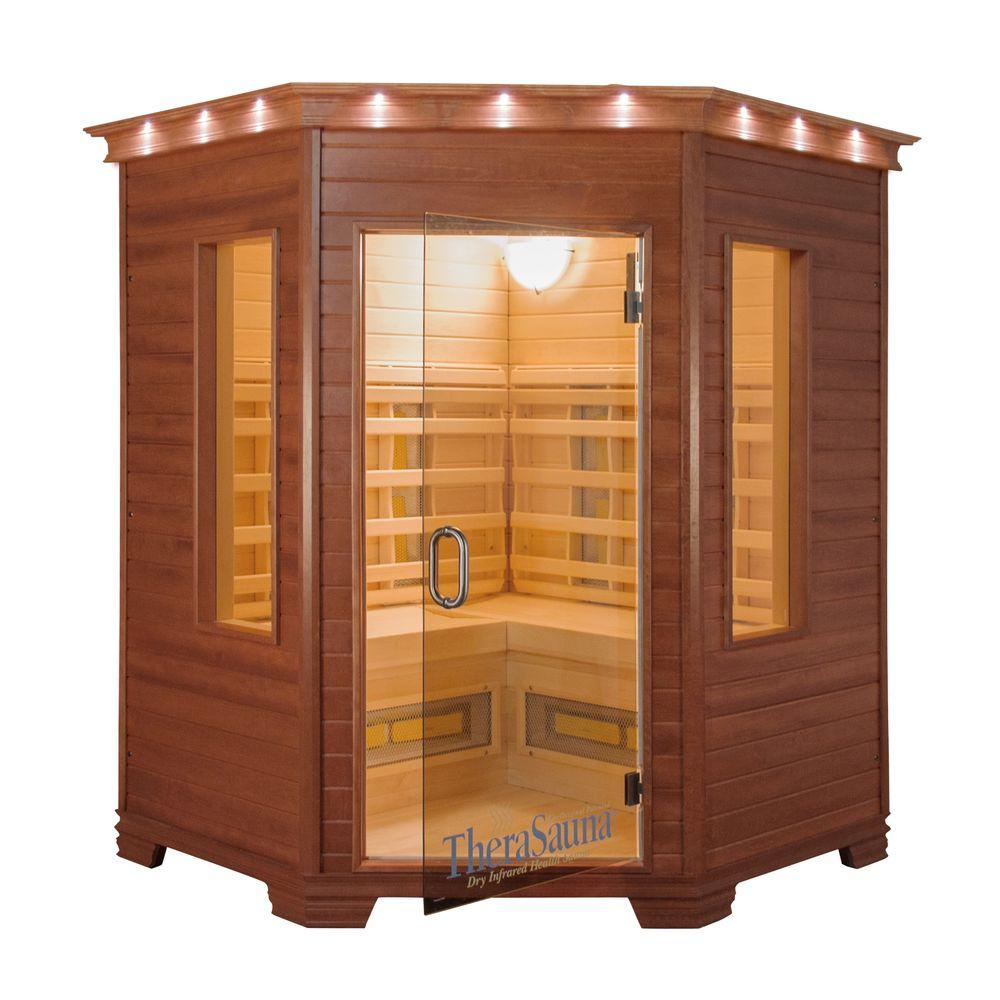 TheraSauna 3-Person Corner Infrared Health Sauna with MPS Touchview Control, Aspen Wood and 12 TheraMitter Heaters