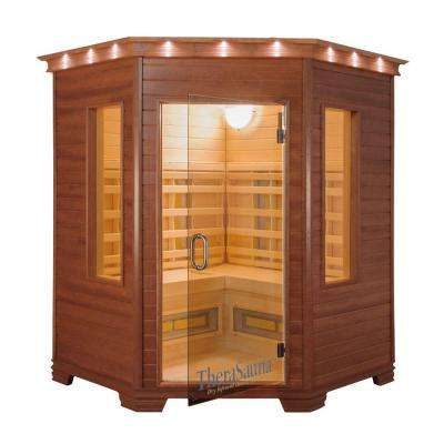3-Person Corner Infrared Health Sauna with MPS Touchview Control, Aspen Wood and 12 TheraMitter Heaters