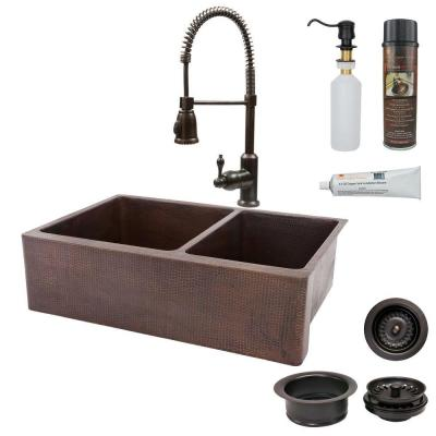 All-in-One Farmhouse Apron-Front Copper 33 in. 0-Hole 6040 Double Basin Kitchen Sink in Oil Rubbed Bronze
