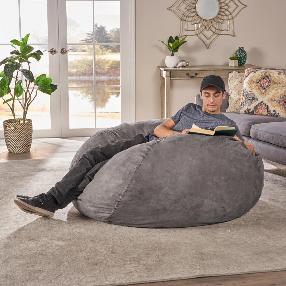 Peachy Ellianna Charcoal Microfiber 5 Foot Bean Bag Evergreenethics Interior Chair Design Evergreenethicsorg