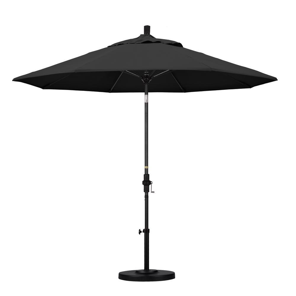 9 ft. Fiberglass Collar Tilt Patio Umbrella in Black Pacifica
