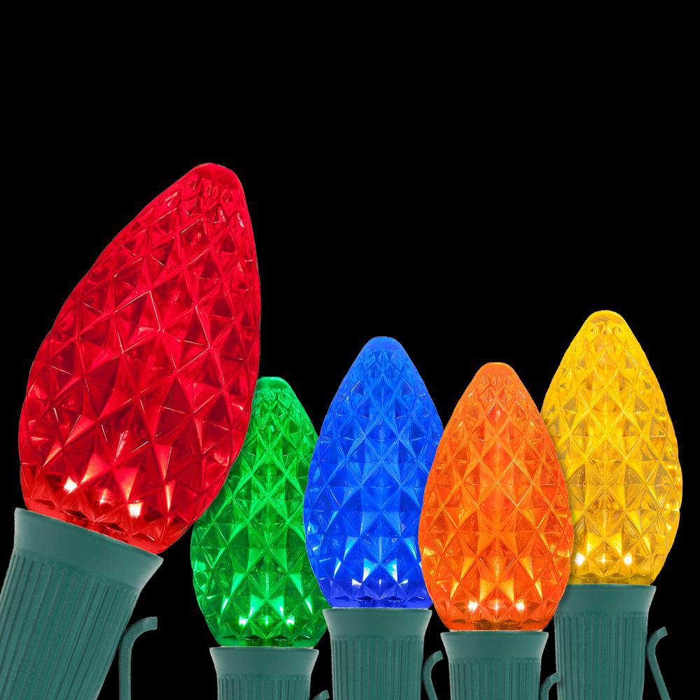 OptiCore 24 ft. 25-Light LED Multicolor Faceted C7 String Light Set