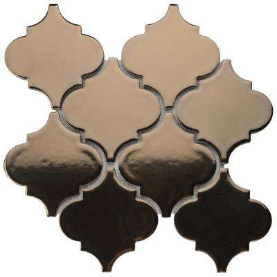 Essence Lantern Burnished Bronze 10-1/2 in. x 10-1/2 in. x 9 mm Porcelain Mosaic Tile