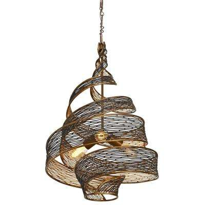 Flow 3-Light Hammered Ore Wrapped Pendant