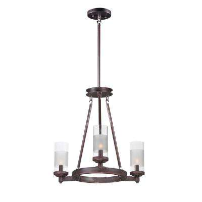Crescendo 20 in. W 3-Light Oil Rubbed Bronze Chandelier with Clear/Frosted Shade