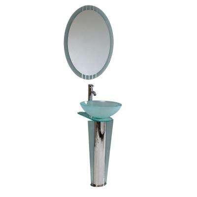 Vitale Vessel Sink in Turquoise Glass with Stand in Chrome and Mirror