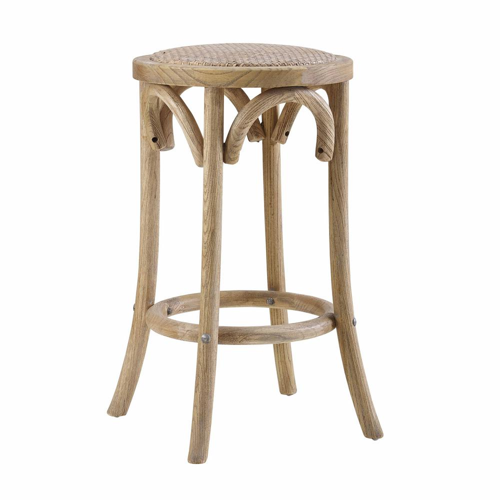 Linon Rae Rattan Seat Backless Counter Stool In Brown Home Decor Products Inc