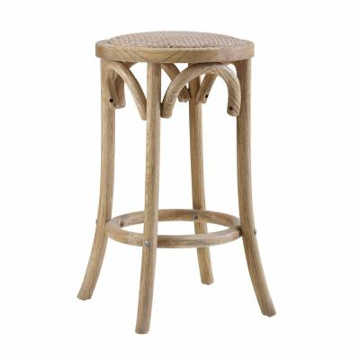 Bradford Brown Rattan Seat Backless Counter Stool