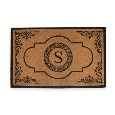 Abrilina Handcrafted 30 in. x 48 in. Entry Coir Double Door Monogrammed-S Mat
