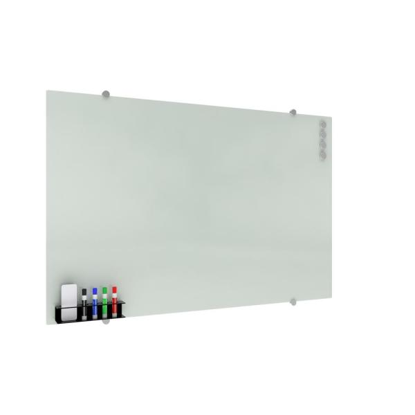 Core Collection Magnetic Glass Whiteboard with Magnetic Marker Caddy, 47 x 30 (GB4730-REC-WHT)