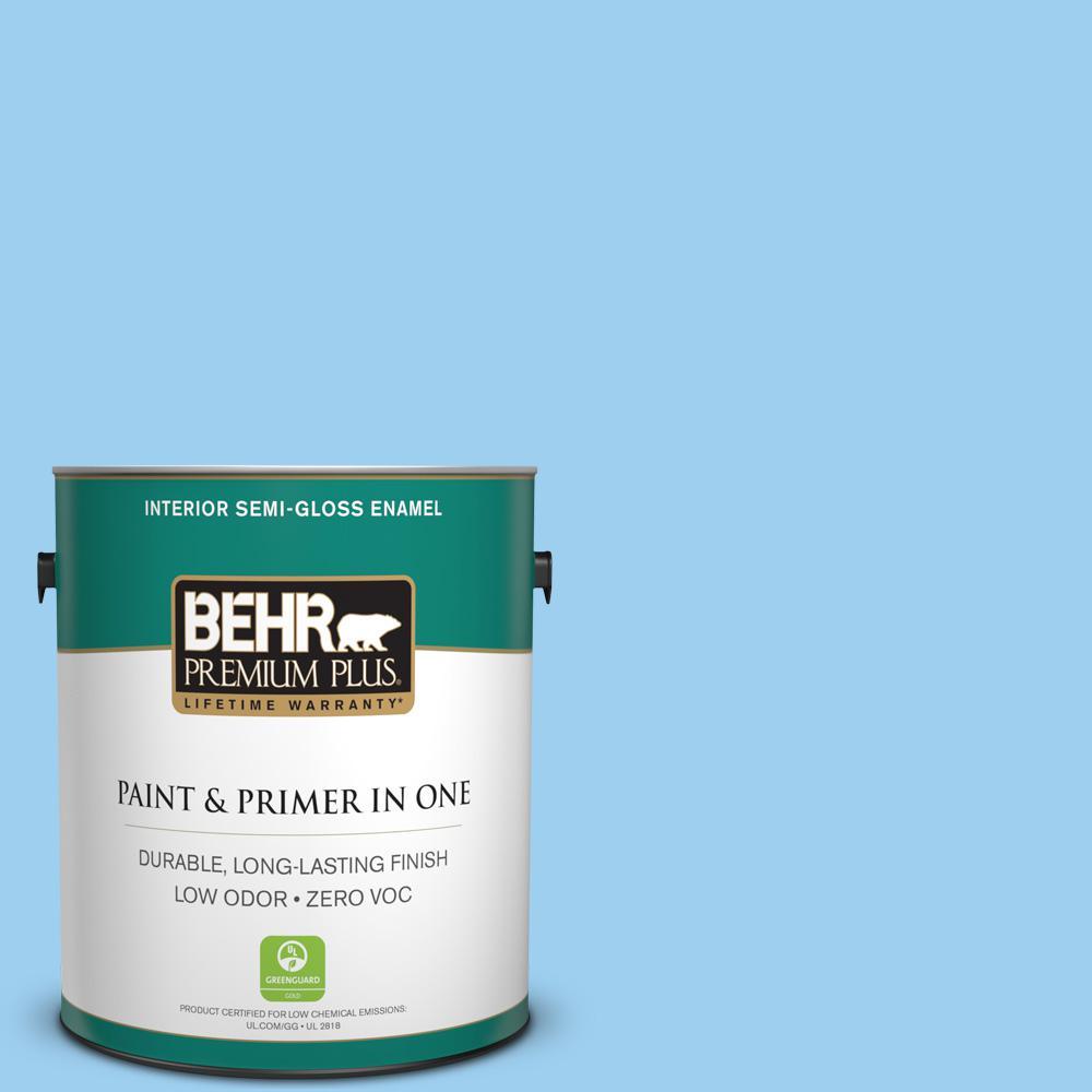 1 gal. #P500-3 Spa Blue Semi-Gloss Enamel Zero VOC Interior Paint