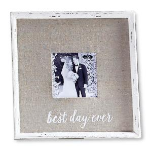 Best Day Ever 4 inch x 4 inch White Wash Wedding Natural Wood Picture Frame by