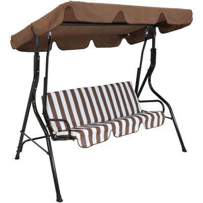 3-Person Black Steel Porch Swing with Brown Striped Cushions