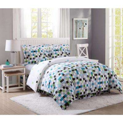 Pixel Green and Gray Queen Bed Ensemble