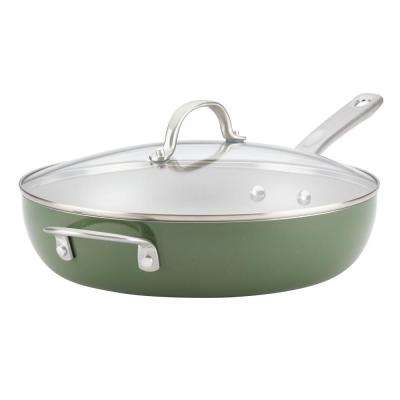 Home Collection 12 in. Porcelain Enamel Nonstick Covered Deep Skillet With Helper Handle in Basil Green