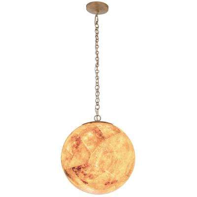 Big 1-Light Gold Dust Orb Mini Pendant with Reclaimed Champagne Shell