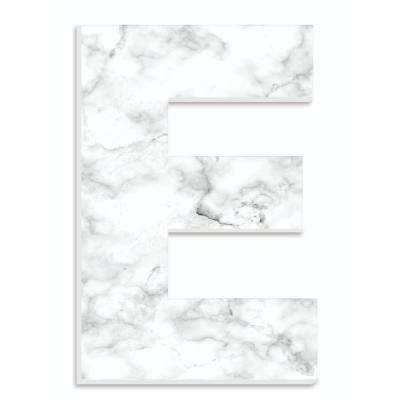 """12 in. x 18 in. """"Modern White and Grey Marble Patterned Initial E"""" by Artist Daphne Polselli Wood Wall Art"""