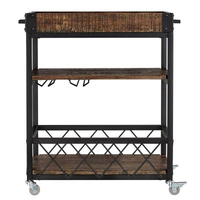 Grove Place Distressed Cocoa Bar Cart with Wine Glass Storage