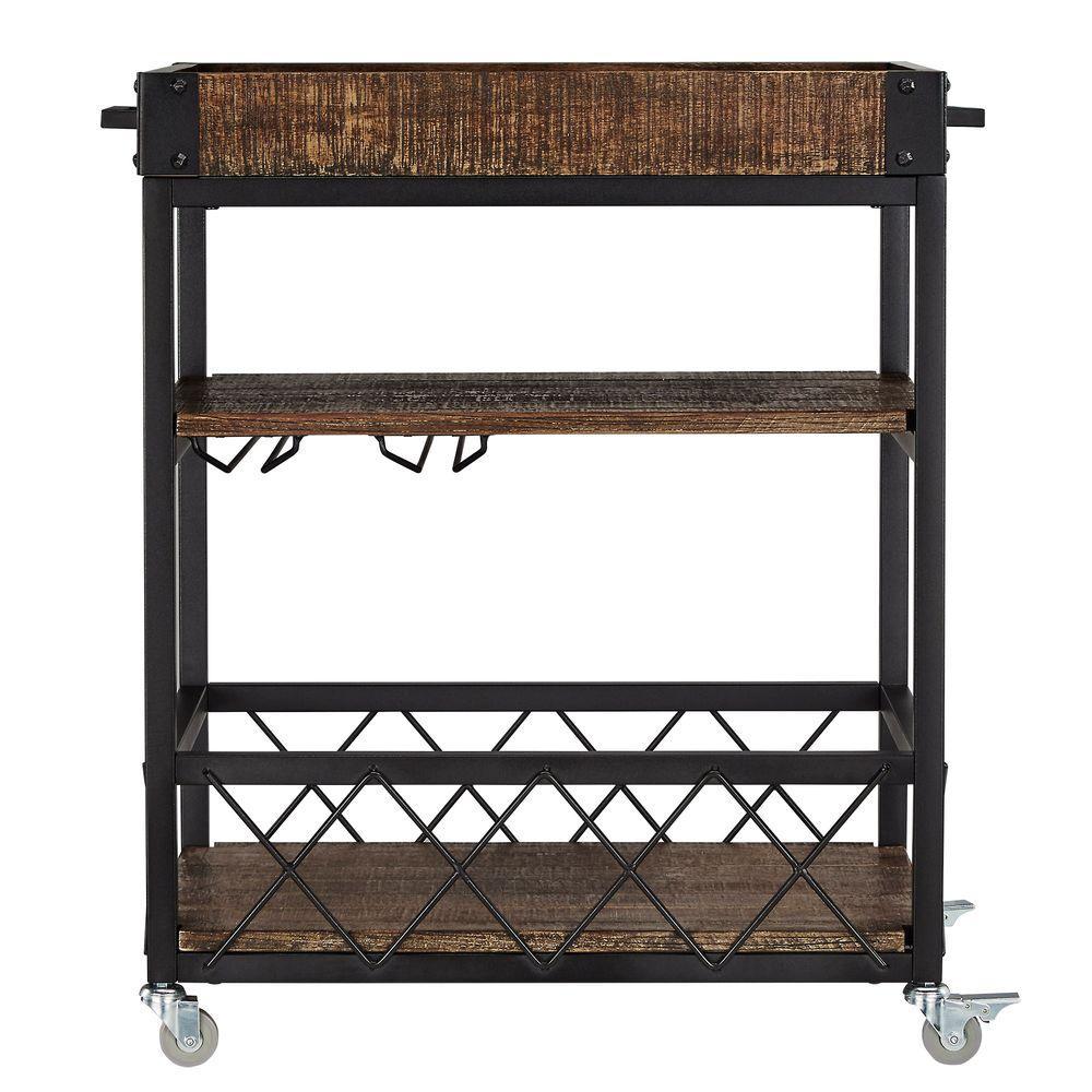 HomeSullivan Grove Place Distressed Cocoa Bar Cart with Wine Glass Storage