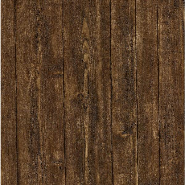 Brewster 8 in. x 10 in. Ardennes Brown Wood Panel Wallpaper