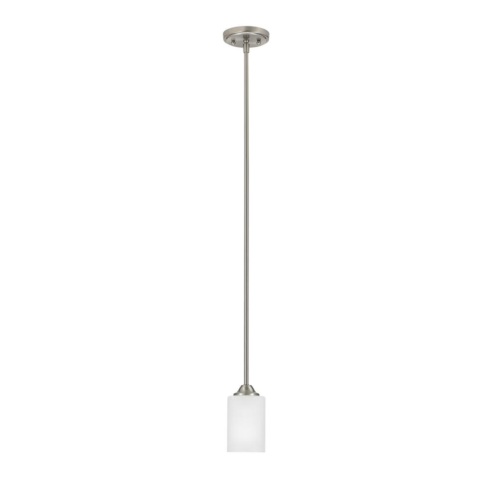 Catalina Lighting 1-Light Brushed Nickel with Frosted Opal Glass Shade Pendant