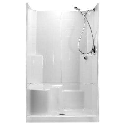 48 in. x 36 in. x 80 in. STD 3-Piece Low Threshold Shower Stall in White, LHS Molded Seat, Shower Kit, Center Drain