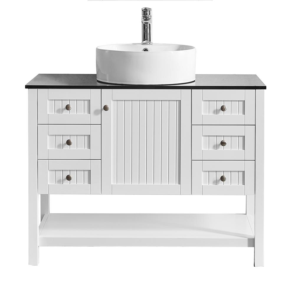 ROSWELL Modena 42 in. W x 20 in. D Vanity in White with Glass Vanity Top in Black with White Basin