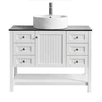 Modena 42 in. W x 20 in. D Vanity in White with Glass Vanity Top in Black with White Basin
