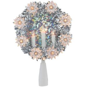 Peace Christmas Tree Topper.Northlight 7 In Silver Tinsel Wreath With Candles Christmas Tree Topper Clear Lights 32606517 The Home Depot