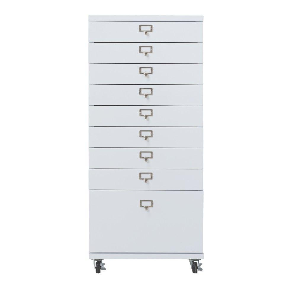 Home Decorators Collection Becker 9-Drawer Metal Cart in White