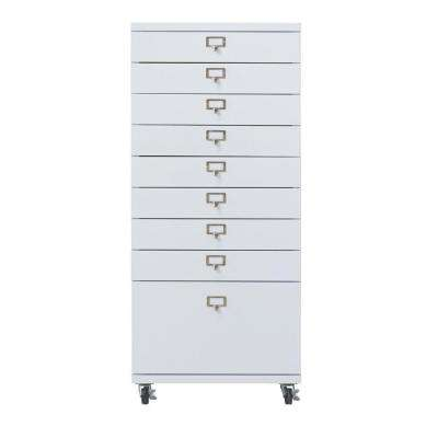 Becker 9-Drawer Metal Cart in White