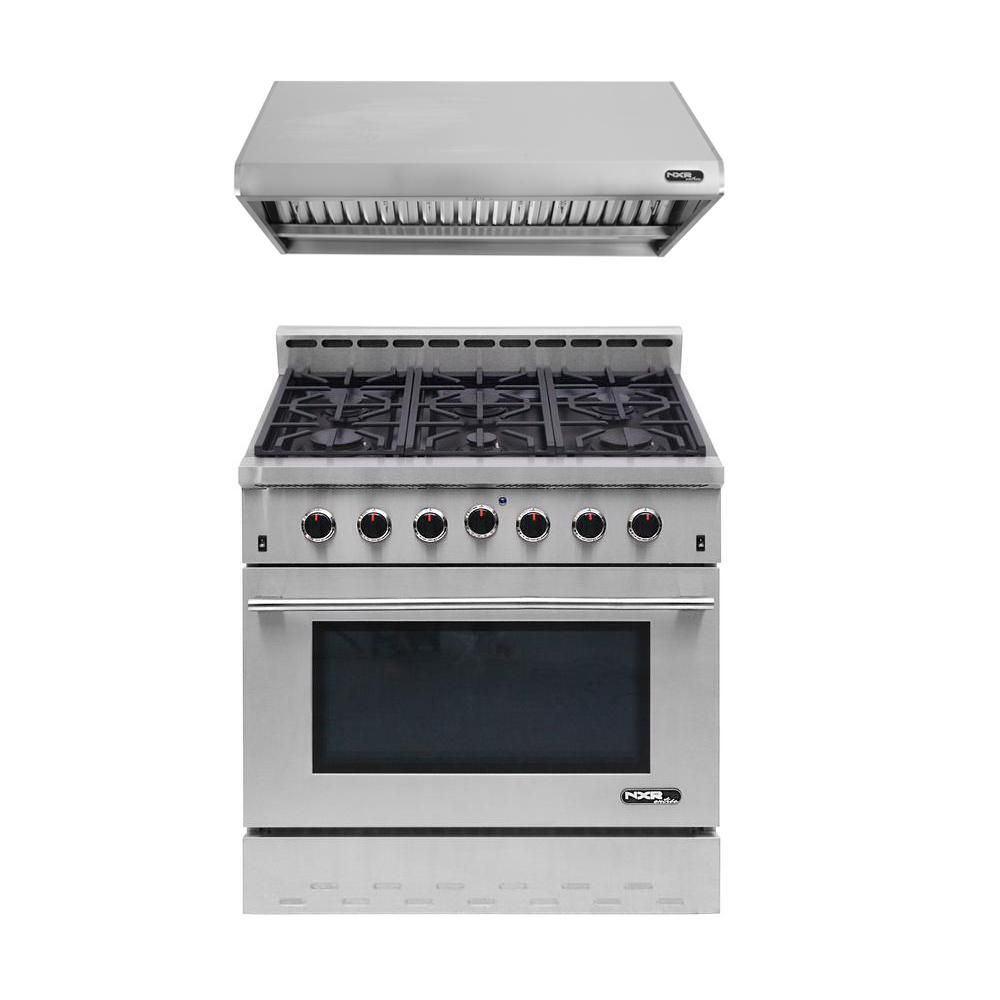 Entree Bundle 36 in. Gas Cooktop with 6-Burner in Stainless Steel
