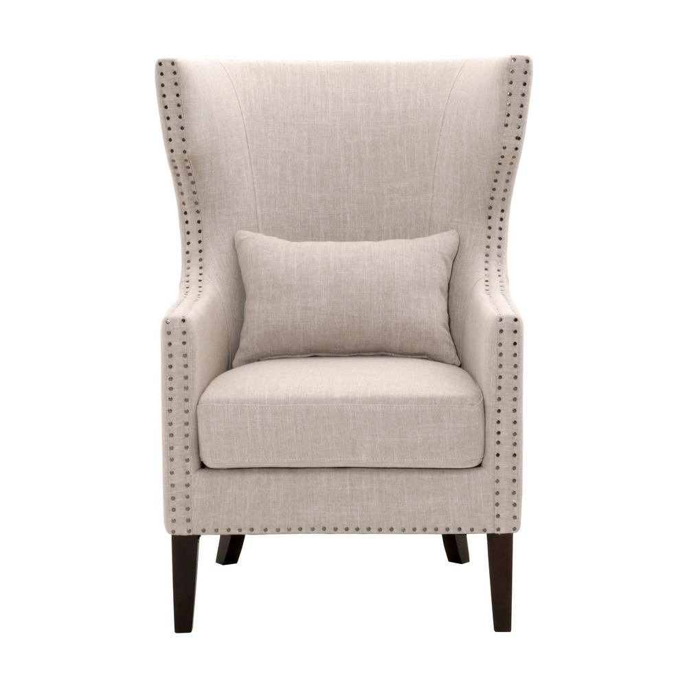 Home Decorators Collection Bentley Birch Neutral Linen Upholstered Arm Chair