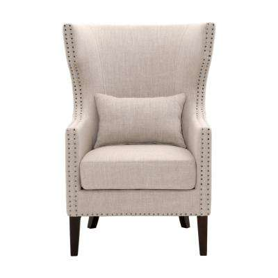 Bentley Birch Neutral Linen Upholstered Arm Chair