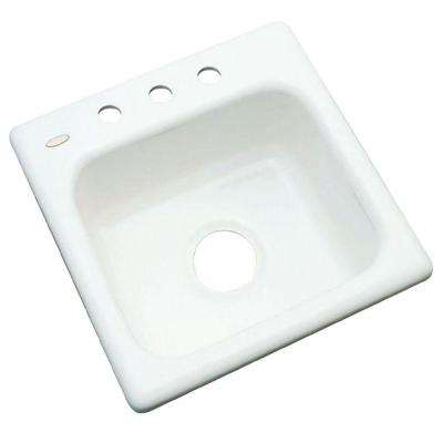 Manchester Drop-In Acrylic 16 in. 3-Hole Single Bowl Entertainment Sink in White