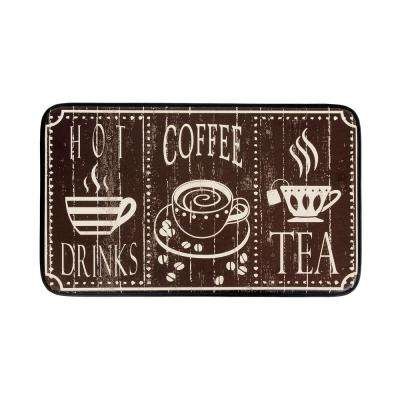 Hot Coffee 18 in. x 30 in. Anti-Fatigue Faux Leather Kitchen Mat