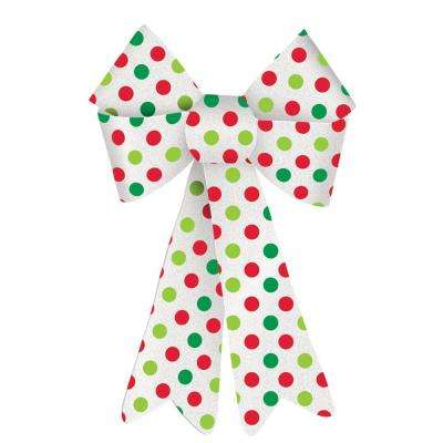 13.75 in. x 10 in. Christmas Green and Red Polka Dot Plastic Glitter Bow (4-Pack)