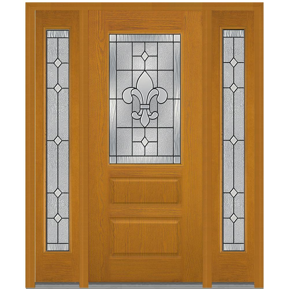 Mmi door 68 5 in x in carrollton decorative glass Fiberglass exterior doors with sidelites