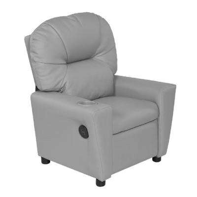 Gray Youth Recliner with Cup Holder and Dual USB