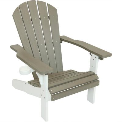 All-Weather Adirondack Patio Chair with 2-Tone Faux Wood Design, Gray/White