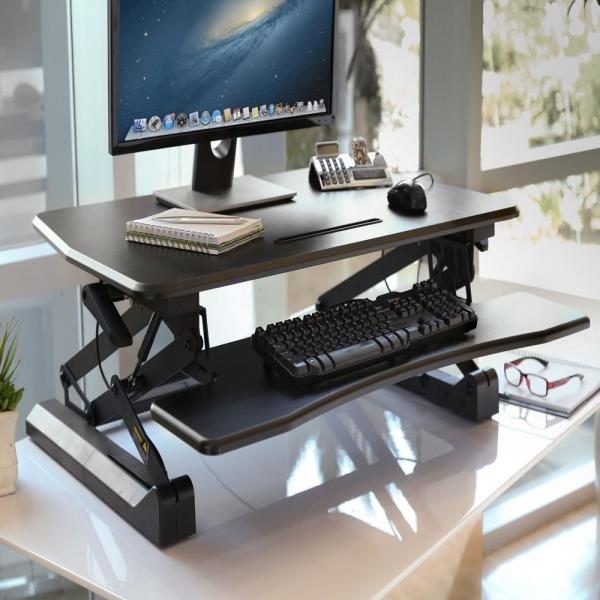 ProHT 2-Lv Height-Adjustable Monitor Raiser Laptop Stand with Removable Drawer