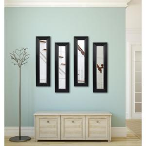 11.5 inch x 32.5 inch Solid Black Angle Vanity Panel Mirror (Set of 4) by