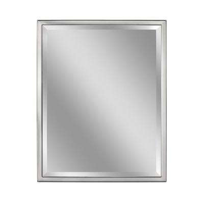 24 in. W x 30 in. H Classic 1 in. W Metal Frame Wall Mirror in Chrome
