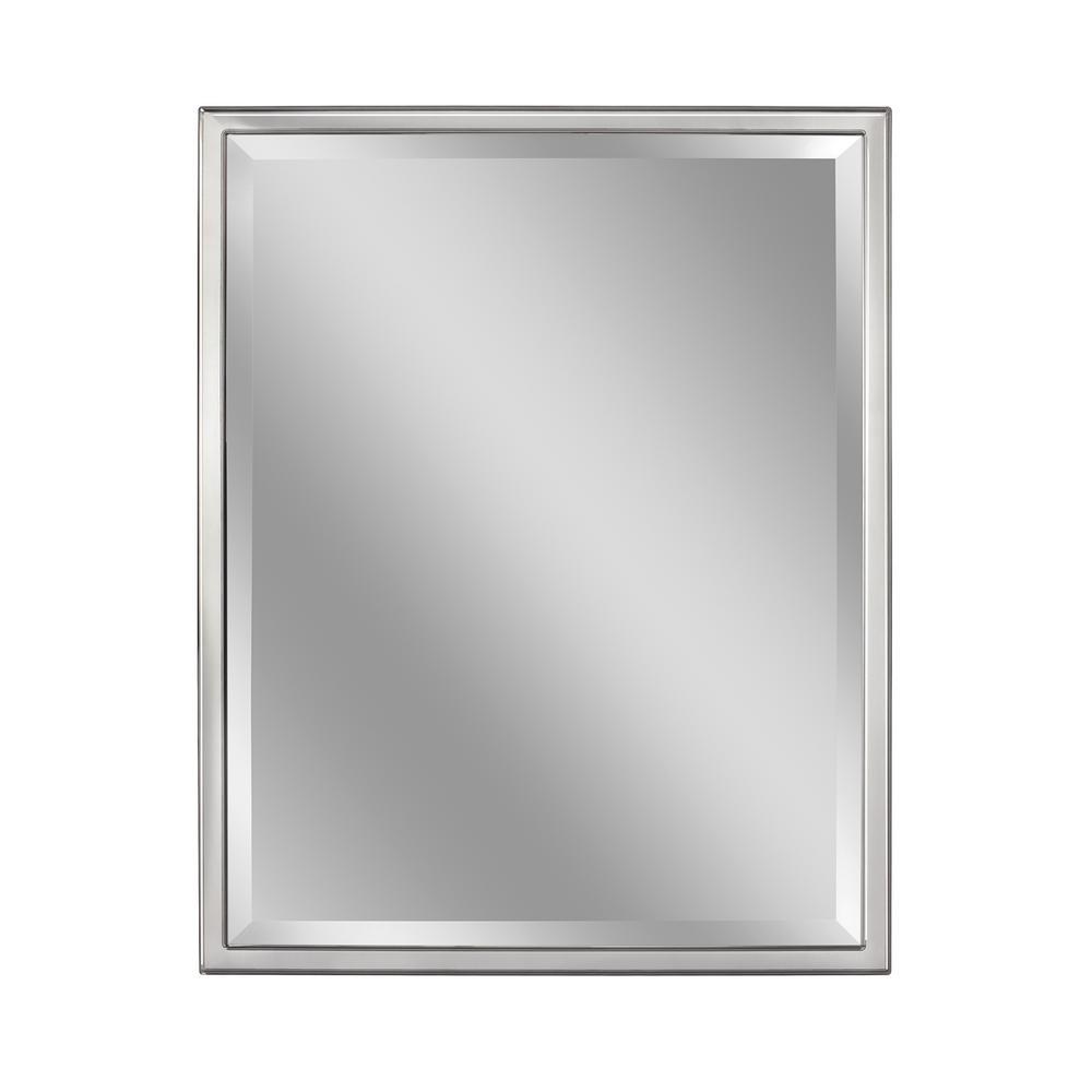 24 in. W x 30 in. H Framed Rectangular Beveled Edge Bathroom Vanity Mirror in Chrome