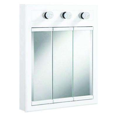 Concord 24 in. x 30 in. 3-Light Tri-View Surface-Mount Medicine Cabinet in White Gloss