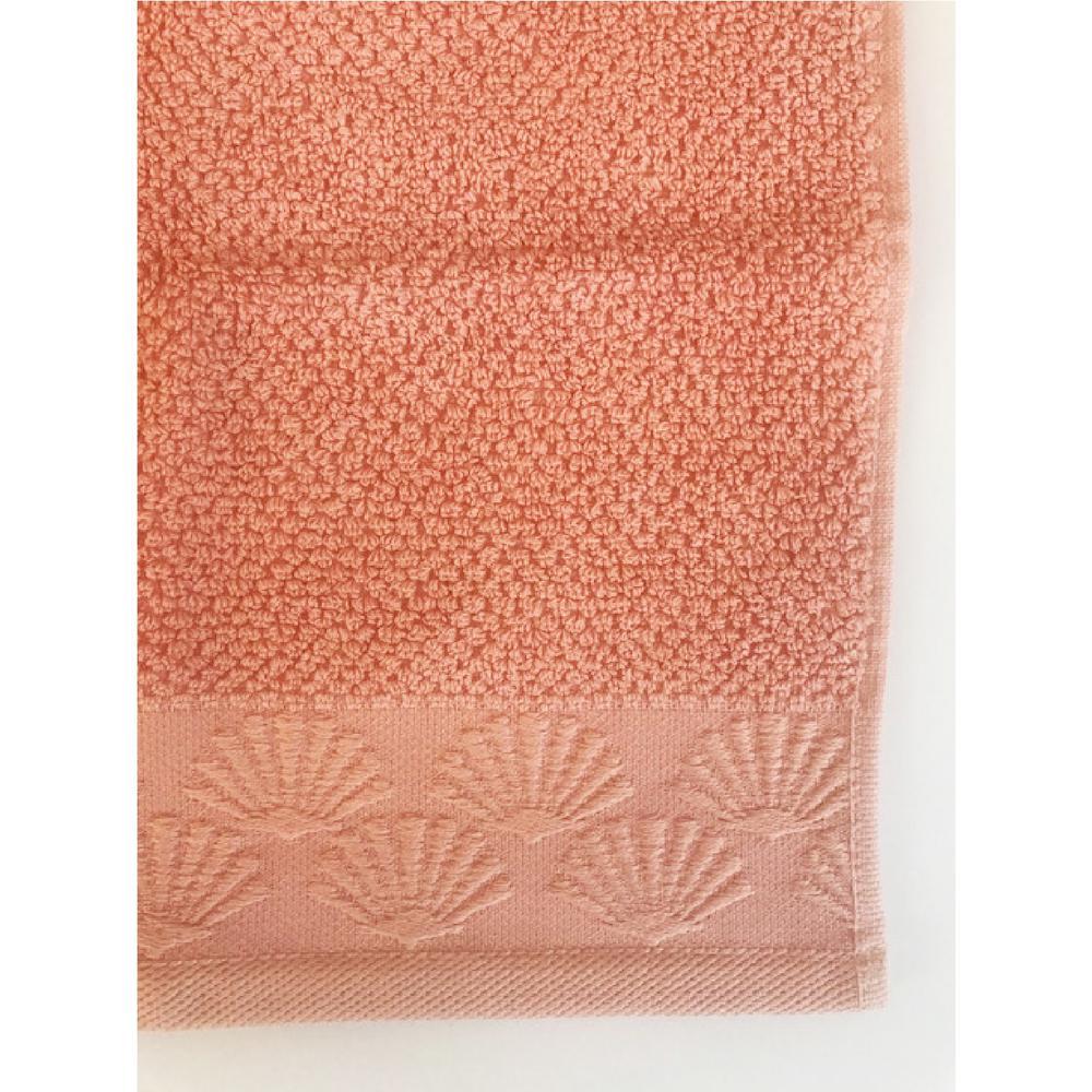 Coastal Shell 6-Piece 100% Cotton Bath Towel Set in Coral