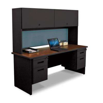 72 in. W x 24 in. D Black, Mahogany and Slate 72 in. Double File Desk Credenza Including Flipper Do or Cabinet