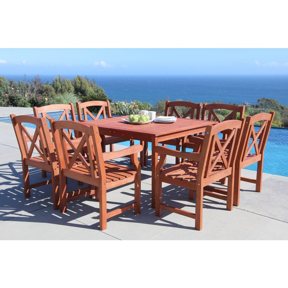 Vifah Malibu 9 Piece Square Patio Dining Set V1401set18
